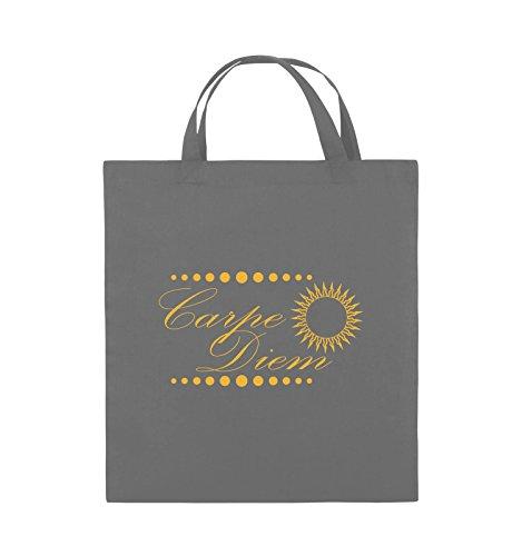Comedy Bags - Carpe Diem - Sonne - Jutebeutel - kurze Henkel - 38x42cm - Farbe: Schwarz / Silber Dunkelgrau / Gelb