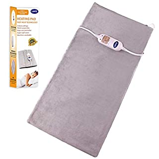 AIICIOO XL Heating Pad for Back Neck Shoulders Pain Relief Cramp Arthritis Electric Heat Pad with Fast-Heating Technology 3 Temperature Settings Ultra Soft Washable Cover (Grey, 30x60 cm)