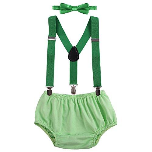 Kostüm Beliebte Teenager - OBEEII Baby 1. / 2. Geburtstag Outfit Neugeborenen Kinder Bloomer Shorts + Fliege + Clip-on Hosenträger 3pcs Bekleidungssets für Foto-Shooting Kostüm Hellgrün