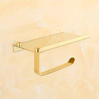 Sedensy Toilettenpapierhalter, 2-in-1Wand montiert Badezimmer Tissue Halter Selbstklebend Badezimmer Edelstahl Toilettenpapierhalter mit Mobiltelefonen Halter Ständer, Gold, Free Size