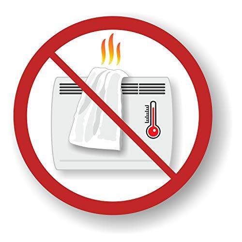 Sicherheitsaufkleber - Verbot der Abdeckung von elektrischen Heizkörpern (6 Aufkleber mit 9,5 cm Durchmesser)