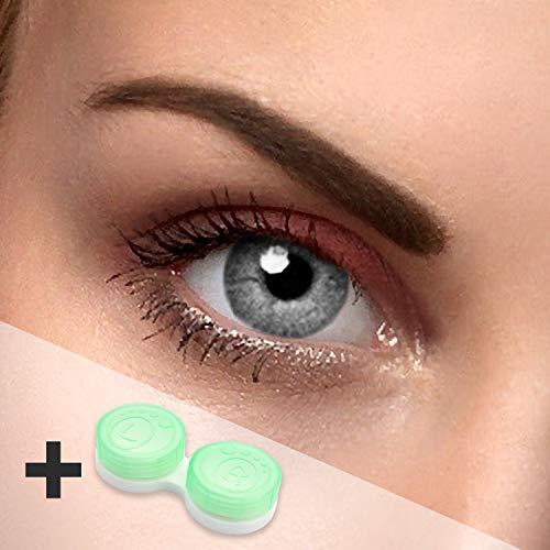 Eye-Effect Farbige Kontaktlinsen Jahreslinsen für jeden Anlass, grau / 0 Dioptrien, 2 Stück
