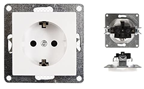 VARIATION Lichtschalter Schalter Taster Wechselschalter Serienschalter Jalousie-Schalter Dimmer Antennen-Dose ISDN ISDN-Steckdose für RJ45 + RJ11 Insatz Innenleben Rahmen aus Plastik und Glas (Unterputz-Schutzkontakt-Steckdose (ohne