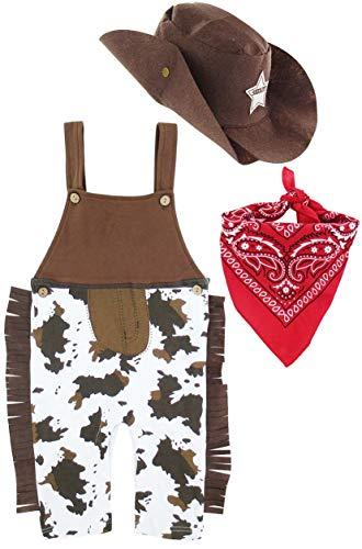 MOMBEBE COSLAND Baby Jungen Cowboy Kostüme Strampler (6-12 Monate, - Baby Boy Cowboy Kostüm