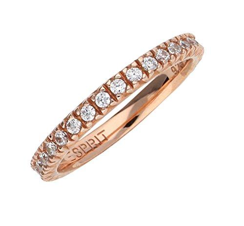Esprit Damen Fingerring 925 Silber Rosegold Brilliance ESRG91986C, Ringgroesse:56 (17.8)