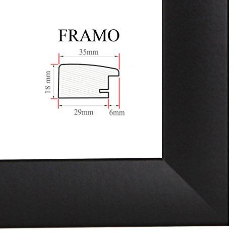 FRAMO 35mm Cadre Photo sur Mesure 85 x 60 cm (Noir Matt), Cadre Fait Main en MDF doté d'Un Verre synthétique antireflet, Largeur du Cadre : 35 mm, Dimensions extérieures : 90,8 x 65,8 cm