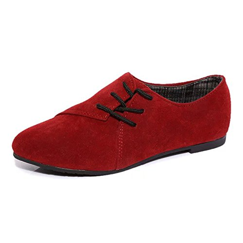 OdeJoy Damenschuhe Geringe Hilfe Flacher Boden Freizeit Schuhe Frau Spitze Oben Schuhe Kopf Schuhe Niedrig Zu Hilfe Eben Unterseite Beiläufig Schuhe Wild Single Schuhe(Rot,39)