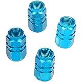 SODIAL(R) 4 X Tapas de la valvula de aire del vastago Cubierta del Ruedas del neumatico de Bicicleta del coche Azul Aluminio