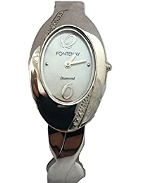 Fontenay Womens Oval analógico Cuarzo Bangle Watch con una madre de Pearl Dial y 4 Diamantes reales !!!!!!