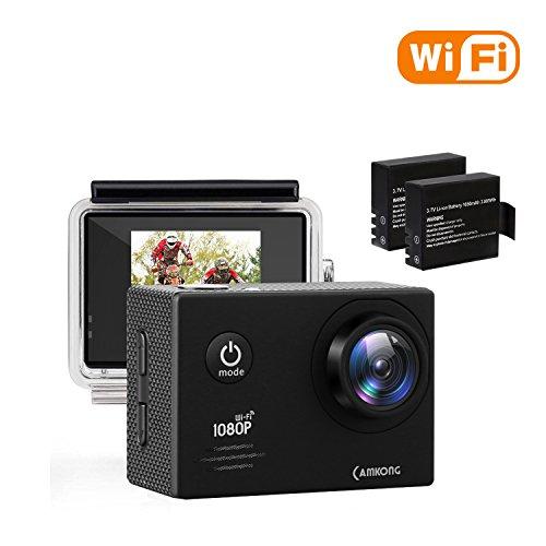 CAMKONG Action Kamera WIFI sport Action Camera 14MP Full HD Helmkamera wasserdichte Action Cam waterproof camera mit 2 Verbesserten Batterien und Zubehör Kits