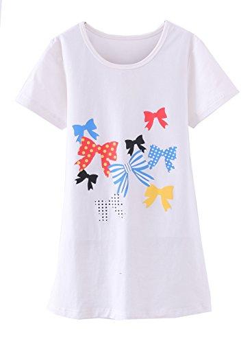 ABClothing Mädchen Nachthemden & Nachthemden Baumwolle Nachtwäsche für Kleinkind 6-7 Jahre weißer Bogen