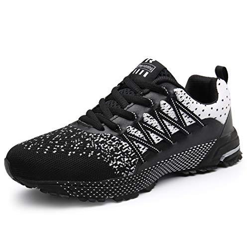 SOLLOMENSI Laufschuhe Herren Sportschuhe Straßenlaufschuhe Sneaker Joggingschuhe Turnschuhe Walkingschuhe Schuhe 41 EU A Schwarz