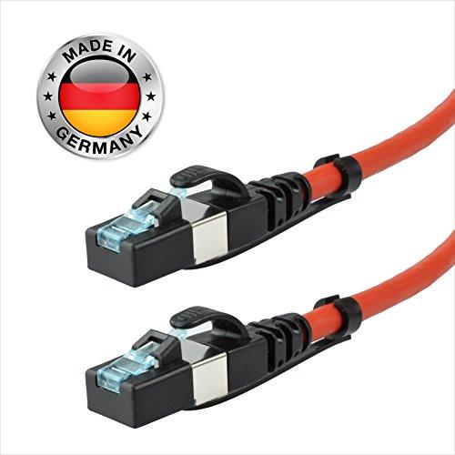 AIXONTEC® 50m Cat.7 Ethernet LAN Patchkabel Gigabit Netzwerkkabel für Aussenbereich | Draka UC900 Kategorie 7 Pur Profi-LAN Kabel | Rot | UV-Beständig | Öl-Beständig