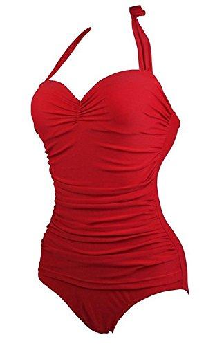 Sommer Strand Swimwear Damen Mode Reizvolle Bikinitop Halfter Tankinis  Einfarbig Badeanzugbeachwear Einteiler Badeanzug Rot*