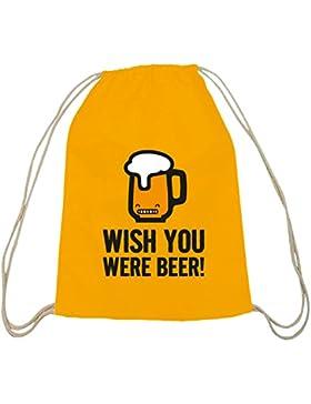 Shirtstreet24, Wish You Were Beer! Baumwoll natur Turnbeutel Rucksack Sport Beutel