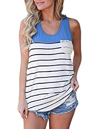 VITryst-Women Splice Striped Summer Crew Neck Pockets Plus Size Cami Vest