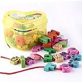 Togames-DE Holzschnürung Perlen Tiere Blöcke Herz-Form Box Threading Pädagogisches Spielzeug