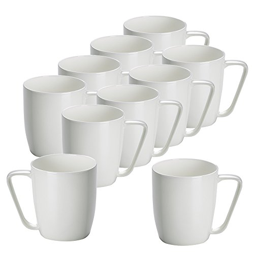 10er SET Becher mit Winkelgriff 420 ml CASHMERE SQUARE / Tasse / Kaffeebecher / Maxwell & Williams Williams Cashmere Bone China