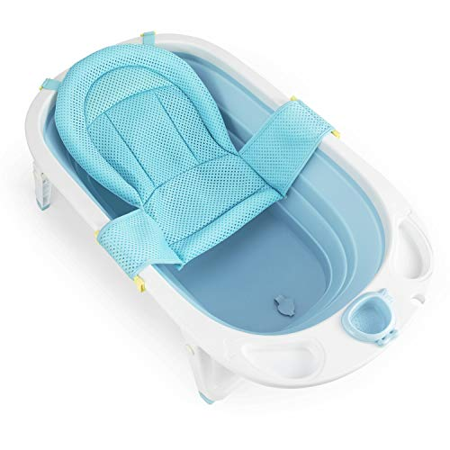 Fascol Vaschetta Bagnetto Pieghevole, Bagnetto per Bambino 0-36 mesi Vaschetta Bagnetto per Neonati con Supporto Sedile e Tappo di Scarico (Azzurro)