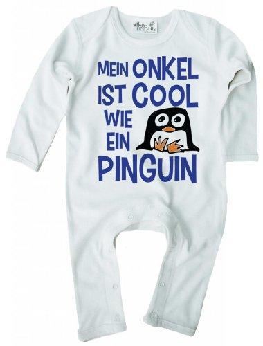 Dirty Fingers, Mein Onkel ist Cool wie Ein Pinguin, Baby Jungen Strampler, 3-6m, Weiss (Pinguine Coole)