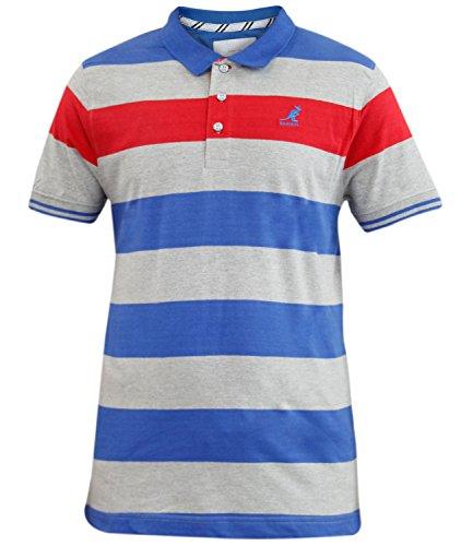 Nuovo Mens Kangol marca tinti in filo a righe Polo T-shirt Casual Collar Rib pulsante superiore Blu marino XL
