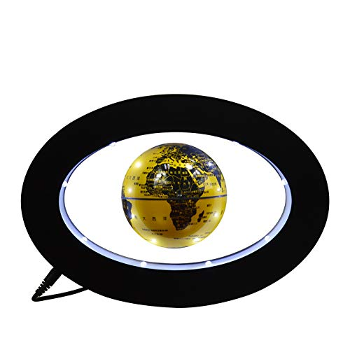 XHHWZB 3.5 '' Globo Giratorio magnético con LED Levitación de luz Globo Flotante Mundo 360 Globo Giratorio Escritorio de Oficina en casa Globo Decorativo Soporte de exhibición de Base elíptica