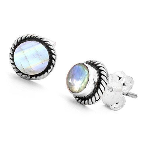 b3015ce06a62 Unique Pendientes para la Mujer clásico Piedra de Luna Plata de Ley 925  joyeria de Calidad