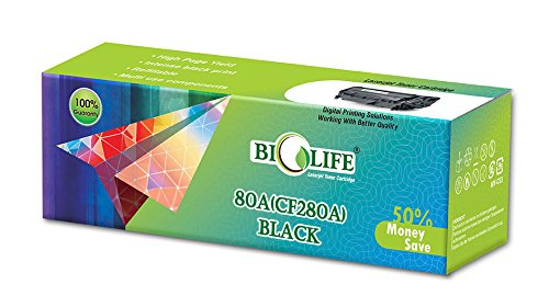 Biolife 80A / CF280A Black Compatible Toner Cartridge for HP Printer LaserJet Pro 400 M401a MFP, 400 M401d MFP, 400 M401dn MFP, 400 M401dne MFP, 400 M401dw MFP, 400 M425dn MFP, 400 M425dw MFP  available at amazon for Rs.1000