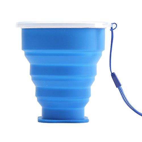 Camping Klappbecher / Faltbecher aus Hochwertigem Silikon, Praktischer Outdoor Trinkbecher - Blau, 9cm H * 8.5cm Top Dia. Folding Cup