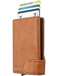 LUNGEAR Tarjetero para Tarjeta de Crédito con Bloqueo RFID, Hombre Cartera Pequeña de Cuero Automatico Pop Up para 4-8 Tarjetas & Billetes