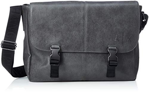 Armani Exchange Herren Messenger Bags Business Tasche, Silber (Magnet), 27.0x11.0x34.0 cm (Bag Männer Für Boss Hugo Messenger)