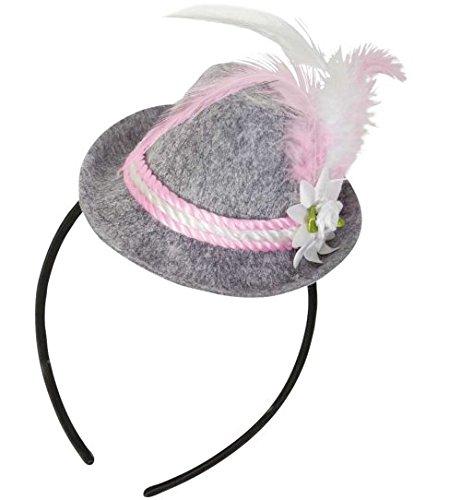 Kopfbedeckung Trachten (Oktoberfest Hut Minihut Bavaria rosa Haarreif Bayern Mini-Hut Trachten-Hut)