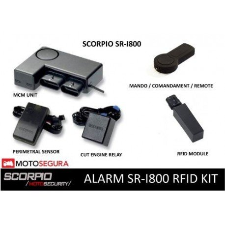 Alarma Scorpio SR-i800 - RFID (CON SENSOR PERIMETRAL + CORTE ENCENDIDO, WITH PERIMETRAL SENSOR AND CUT ENGINE)