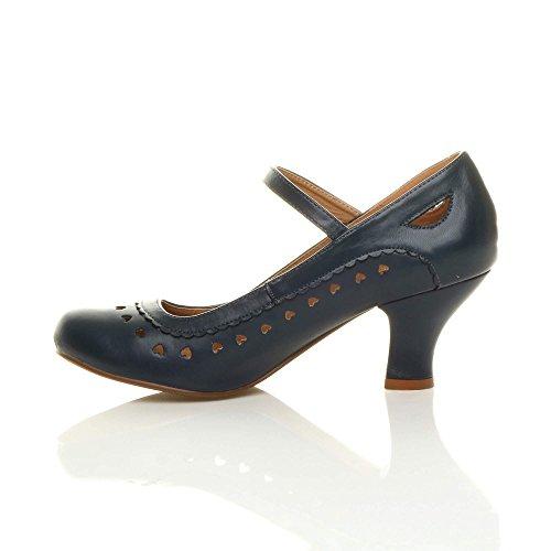 Chaussures escarpins babies classique cœur découpée femmes petit talon taille Mat bleu foncé