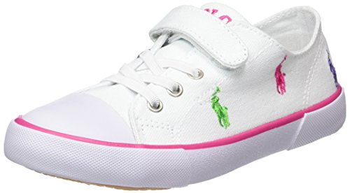 Polo Ralph Lauren Kody, Unisex-Kinder Sneakers, Weiß (White Canvas-Multi), 25 EU (Polo Ralph Lauren Sneakers Mädchen)