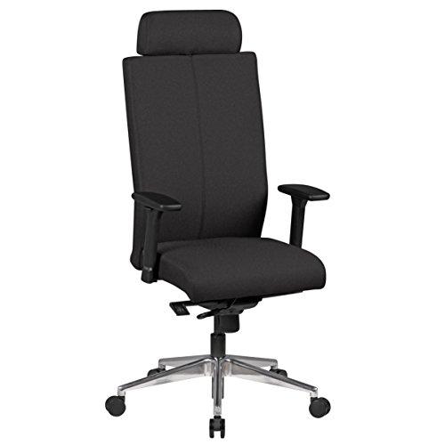 Amstyle Sedia da ufficio sedia girevole da Adrian in tessuto, colore: nero, meccanismo sincrono poggiatesta, 120kg