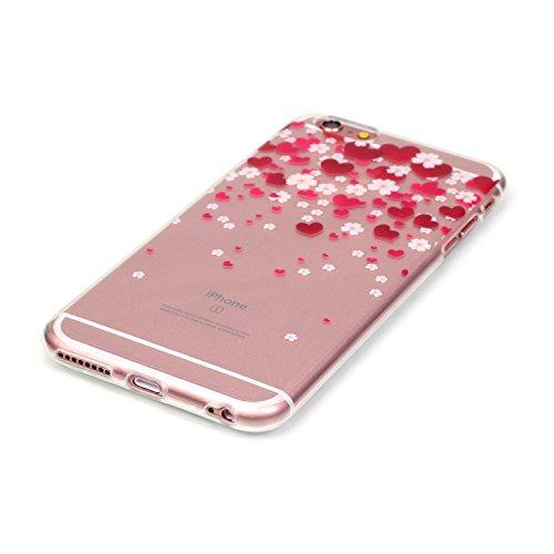 """Apple iPhone 6/6S 4.7"""" Housse - Felfy Ultra Mince Slim Colour Peint Motif Papillon Ours Plume Tour Eiffel Gel Translucide Souple Soft Flexible Ultra Slim Souple Gel TPU coque de protection Bumper Cas  coeur rouge"""