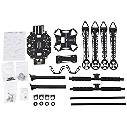 Drone Frame Kit, Quadcopter Fuselage Frame Carbon Fiber Landing Gear 500 mm Distancia Entre Ejes, para niños, Adultos, Negro 28.5 * 17.5 * 5.3 cm