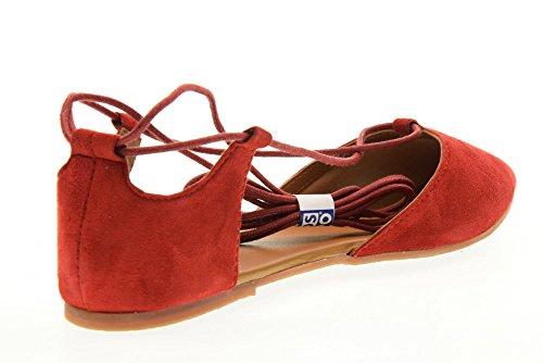 Sandale Ballerine Femme en cuir Gioseppo model Aldereta rouge Rouge