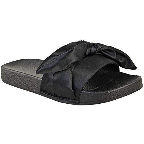 Donna comodo basse fiocco passanti satin sposa matrimonio pantofole sandali taglia - nero satinato, 37