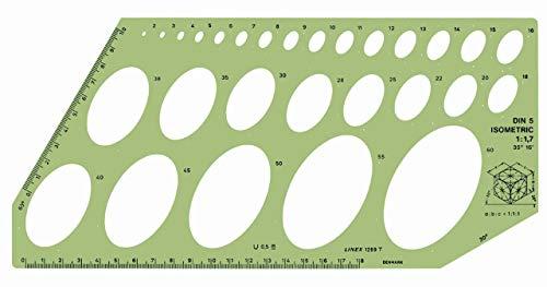 Plantilla de 28 elipses de 35 graods, Linex Isometric Ellipse LXG1269T, medidas 16 pulgadas (285x135 mm)