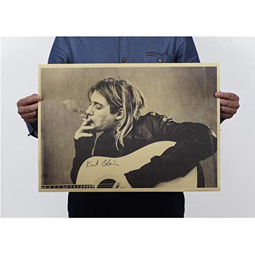 qwerz Vintage Kurt Cobain Nirvana Frontman Rock Poster Home Decor Bar Retro Kraft Paper Wall Sticker 51x35cm