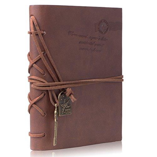 Cuaderno de Cuero – Meersee Cuaderno de Notas Vintage Cuadernos Bonitos de Viaje con n Regalo Gratis