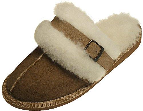 Harrys-Collection Extra Dicke Lammfell Pantoffeln für Damen mit Schnallen Verzierung, Farben:beige, Schuhgröße:39