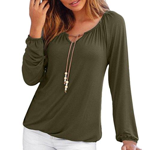 Blusen Damen Pullover Sweatshirt Langarmshirt V-Ausschnitt Shirt Frauen Solid Tops Bowknot Langarm Shirts Bluse T-Shirt Oberteile,ABsoar (Bluse Kleidung Junior)