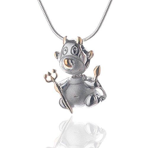 Halskette, Kette 925 Silber mit Teufel- Kettenanhänger teilvergoldet