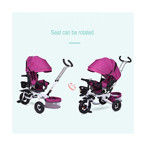 GSDZSY - 4 IN 1 Children Foldable Tricycle,seat Can Be Rotated 360° And The Backrest Can Be Adjusted, Baby Can Sit Or Lie Flat, Comfortable Seat, 6 Months -6 Years Old GSDZSY ❀ Material: High carbon steel + ABS + EVA wheel, suitable for children from 6 months to 6 years old, maximum load 30 kg ❀ Features: The push rod can be adjusted in height, the seat can be rotated 360, the backrest can be adjusted, the baby can sit or recline; the adjustable umbrella can be used for different weather conditions ❀ Performance: high carbon steel frame, strong and strong bearing capacity; non-inflatable rubber wheel, suitable for all kinds of road conditions, good shock absorption, seat with breathable fabric, baby ride more comfortable 7