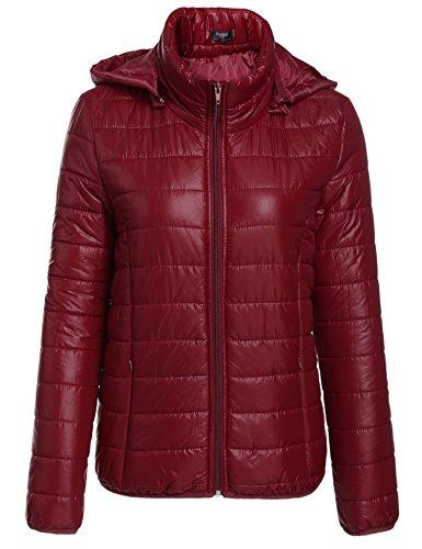 Zeagoo Winter Damen Jacke Lightdaune Packbar Steppmantel mit Kapuze (Weinrot)