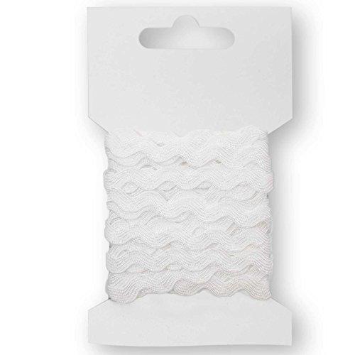 maDDma ® 3m Hochwertige Zackenlitze Borte Zick-Zack-Borte auf Karte, 5mm breit, Farbwahl, Farbe:weiß