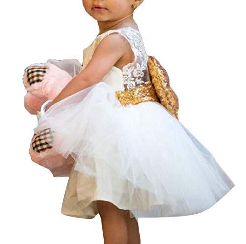 Sequin Bowknot Christening Swing Rockabilly Skirt Dresses White 120 ()
